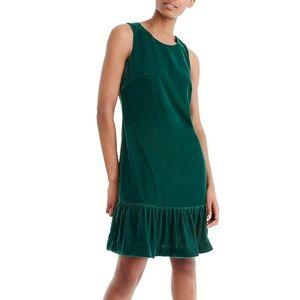 J. Crew Velvet Green Shift Dress 4 EUC